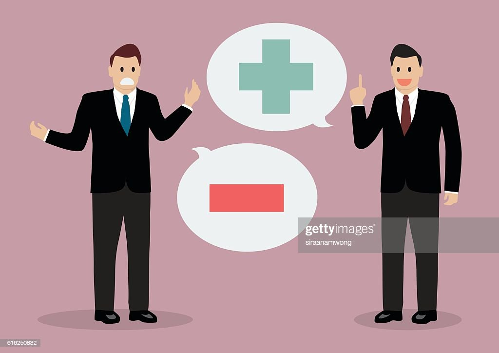 Two businessman with positive and negative thinking : Vector Art