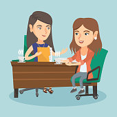 Two caucasian business women sitting at the table and discussing business matters at meeting. Two women talking on business meeting and drinking coffee. Vector cartoon illustration. Square layout.