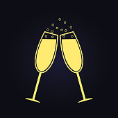Two champagne glasses. Vector. Free space for text or advertising.