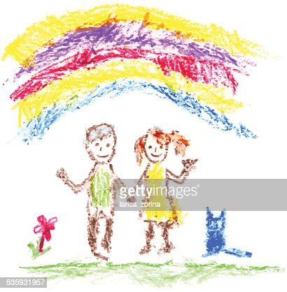 Two children brother and sister under the rainbow : Vector Art