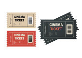 Two cinema vector tickets isolated. Movie tickets. Event icons