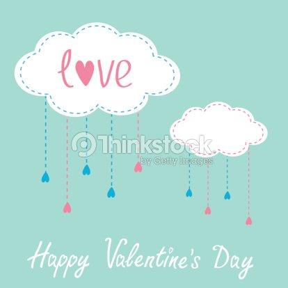 Dos Nubes Con Lluvia Cae Para Colgar Feliz Día De San Valentín