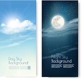 Two contrasting sky banners - Day and Night. Vector.n