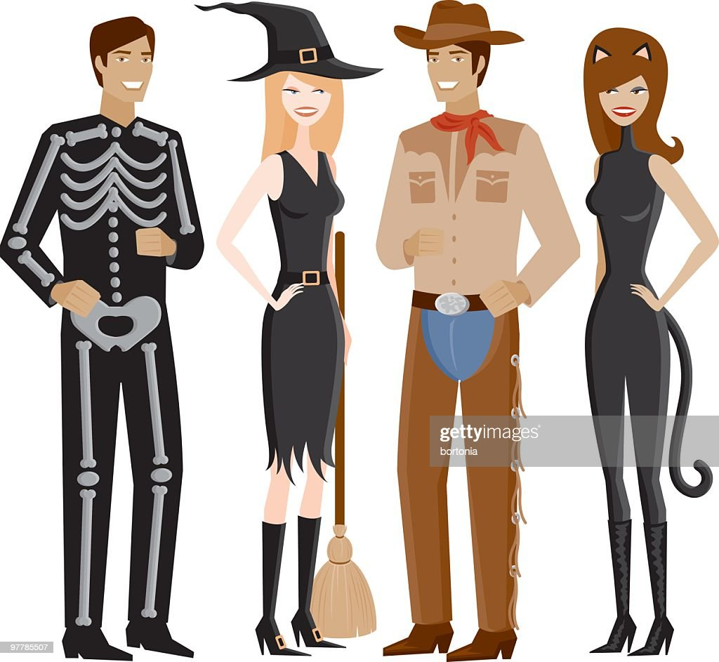 Two Couples In Halloween Costumes Vector Art   Getty Images