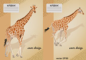 Two covers for notebooks with a giraffe on a beige background, set