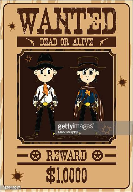 Two Cowboy Gunslingers Wanted Poster