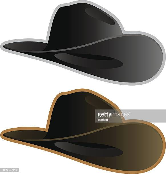 Two cowboy hats one gray and one brown