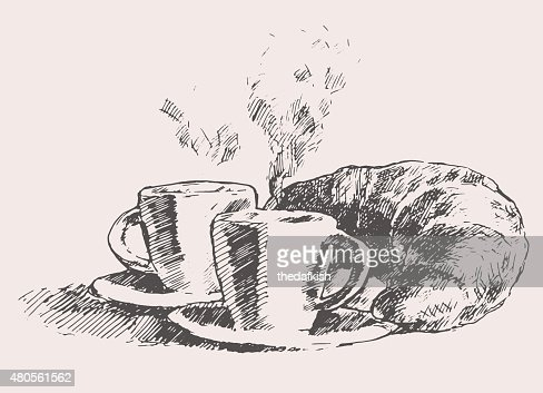 Two cups coffee croissant vintage illustration : Vector Art