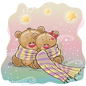 Greeting card two Teddy Bears wrap up in a scarf