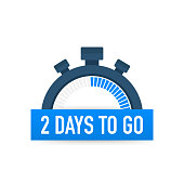 Two days to go. Time icon. Vector stock illustration on white background.