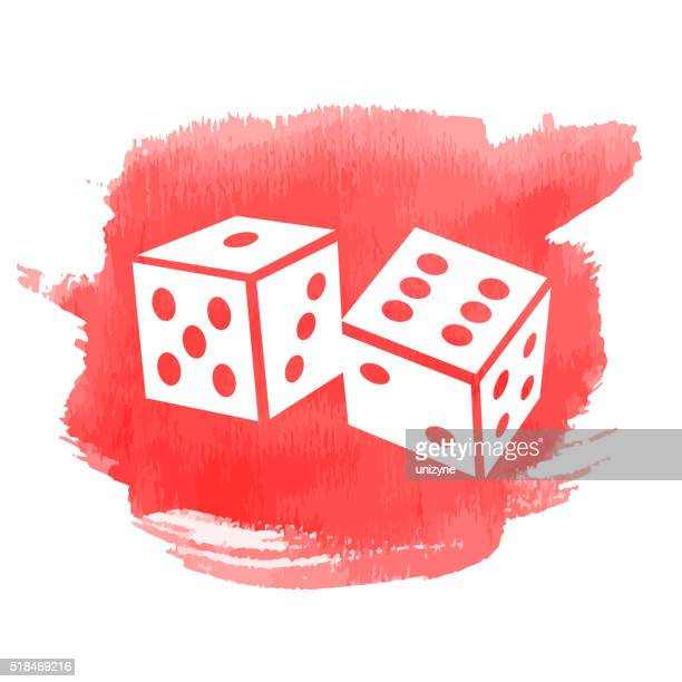 Two Dice Cubes on Watercolor Background