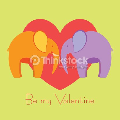 Two Elephants In Love Valentines Day Card Vector Art – Elephant Valentines Card