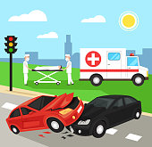 Two first aid doctors carry the victim patient on stretchers after car road accident disaster. Ambulance emergency help medicine hospital car. Automobile crash damage drunk driver concept. Vector flat