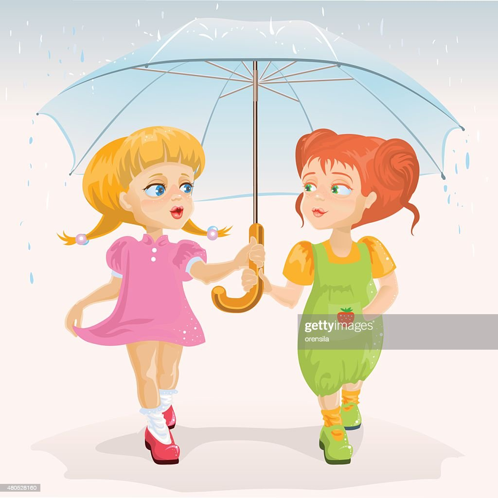 Two friends holding umbrella. Template greeting card Friendship Day : Vector Art
