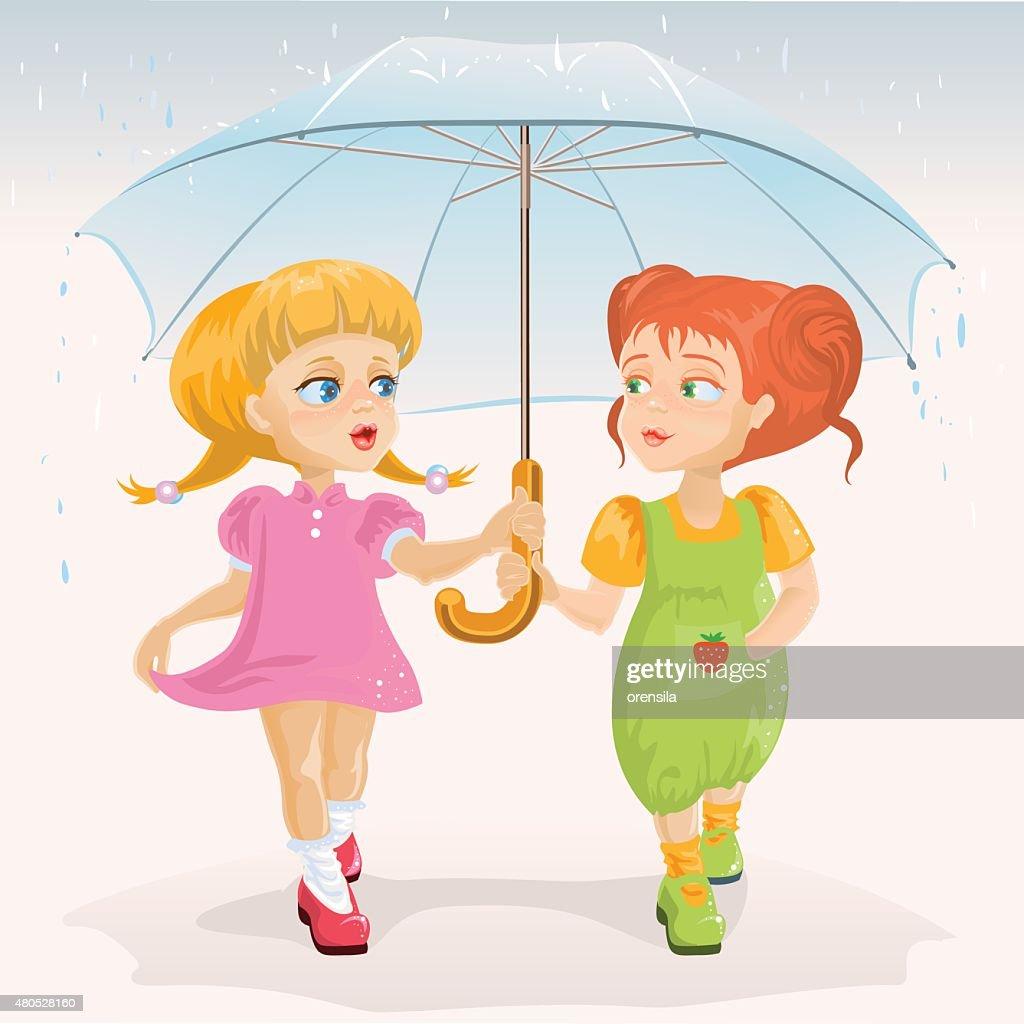 Two friends holding umbrella. Template greeting card Friendship Day : Vektorgrafik