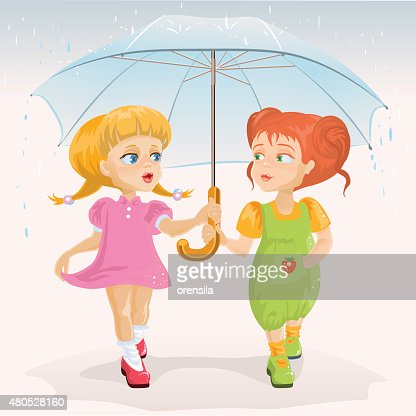 Two friends holding umbrella. Template greeting card Friendship Day : Vektorgrafik