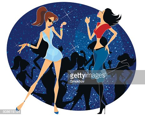 Two girls dancing : Vector Art