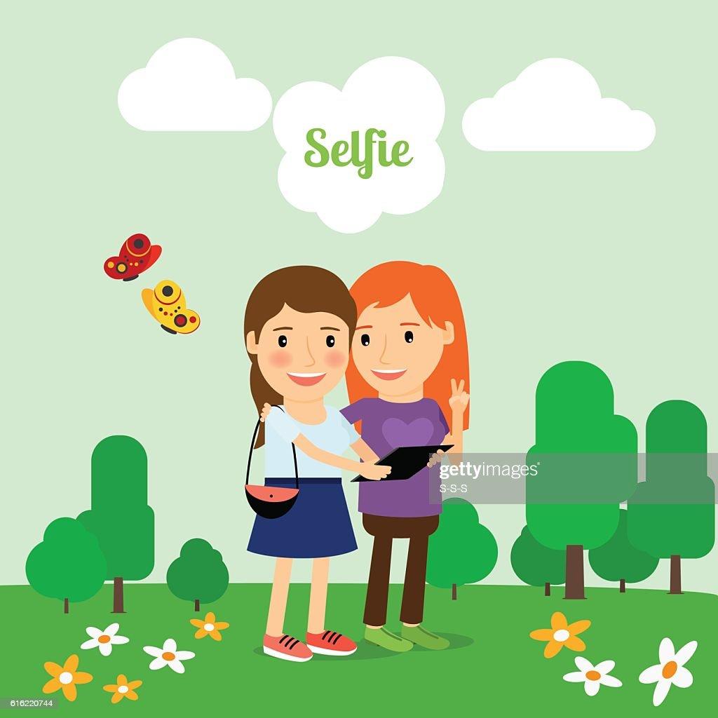 Two girls taking selfie : Vector Art