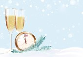 Two glasses of champagne and clock on snowy background. Happy new year winter background. Vector illustration