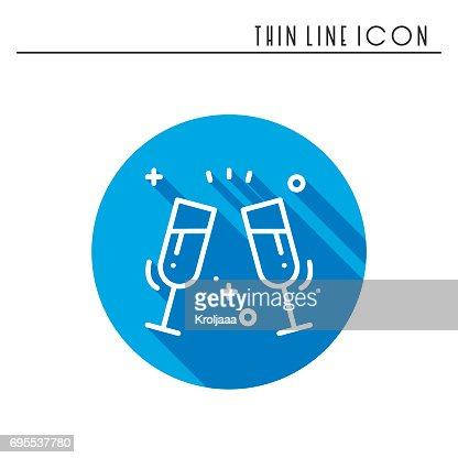 Zwei Glaser Toastsymbol Binge Trinken Champagner Wein Party Feiern