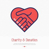 Two hands in shape of heart thin line icon. Handshake, symbol of kindness, donation and charity. Vector illustration.