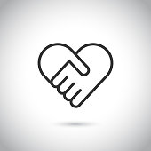 Two hands in shape of heart. Vector modern thin line icon on gray background.
