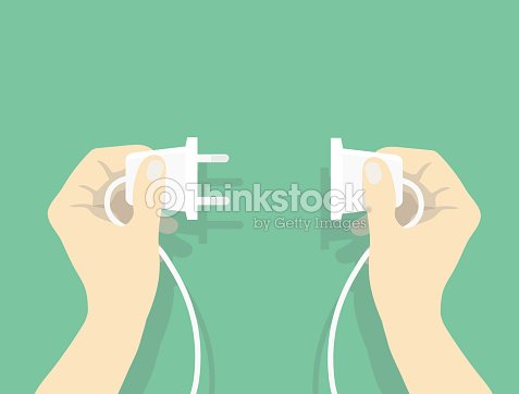 Two hands trying to connect electric plug : stock vector