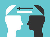 Two open heads silhouettes with arrows exchanging thoughts. Communication, idea, knowledge, teamwork and education concept. Flat design. Vector illustration, no transparency, no gradients
