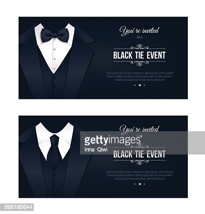 Two Horizontal Black Tie Event Invitations Vector Art  Thinkstock