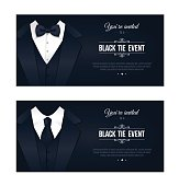 Two horizontal Black Tie Event Invitations.  Elegant black and white cards. Black banners set with businessman suits. Vector illustration