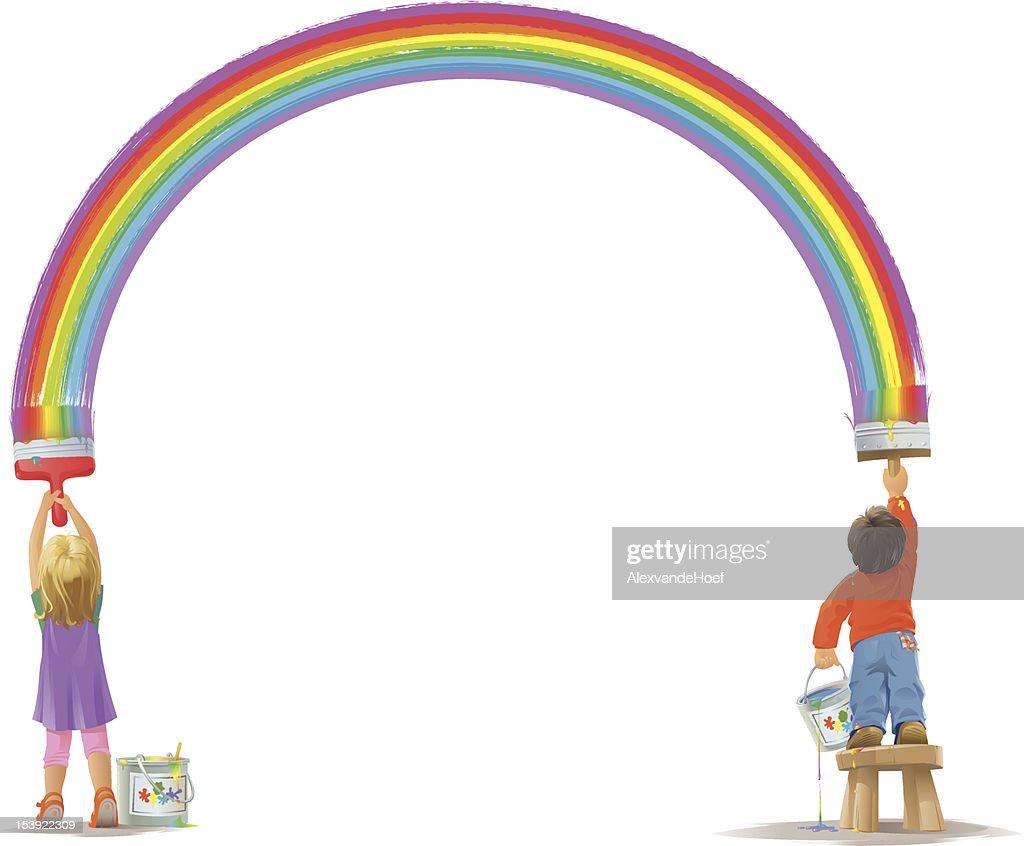 Dos niños pintar una torre Rainbow : Arte vectorial