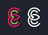 Abstract E letter symbols, bright color and white isolated . Two line graphical geometrical monograms.