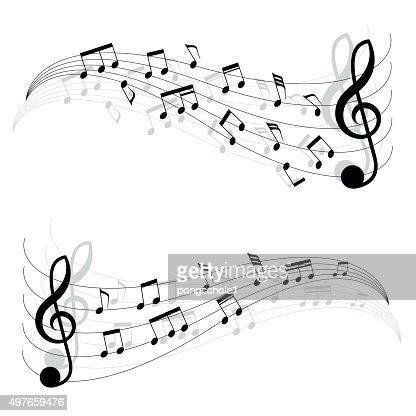 Deux Petites Notes De Musique Noir à Bouger Accords