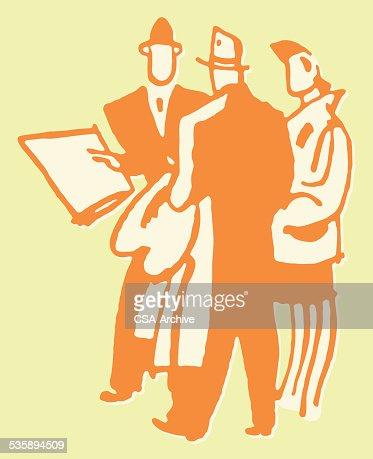 2 人の男性と女性に話す : ベクトルアート