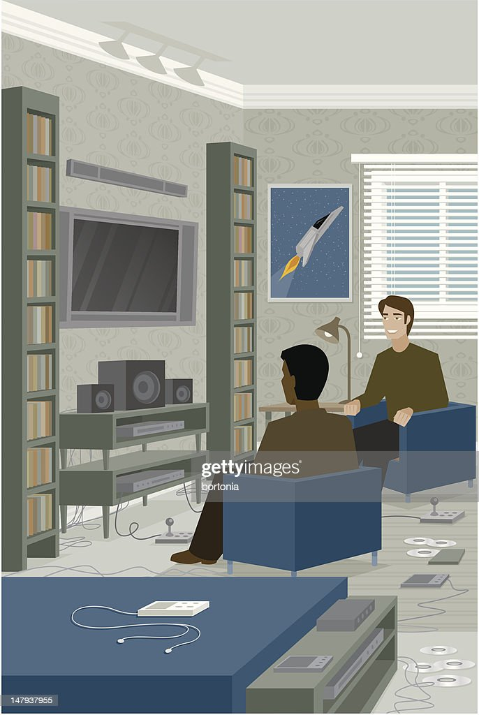 Two Men Sitting in Front of Home Entertainment Center : Vector Art