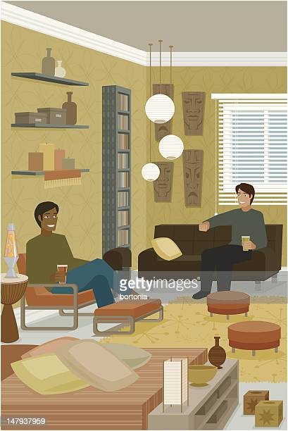 Two Men Sitting on Couches in Interior Decorated House