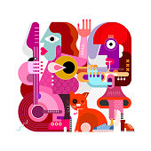 Two female musicians and one orange cat vector illustration isolated on a white background. One woman playing guitar, another woman playing trumpet, the cat rubs against the legs. Modern style paintin