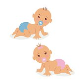 Illustration of two newborn babies crawling on all fours in diapers.