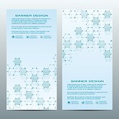 Two of modern vertical scientific banners. Molecular structure of DNA and neurons. Geometric abstract background. Medicine, science, technology, business and website templates. Vector illustration.