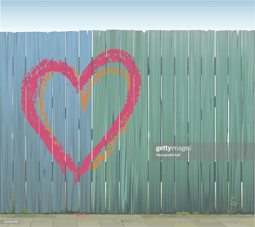 Two painted hearts on wooden fence : Vector Art