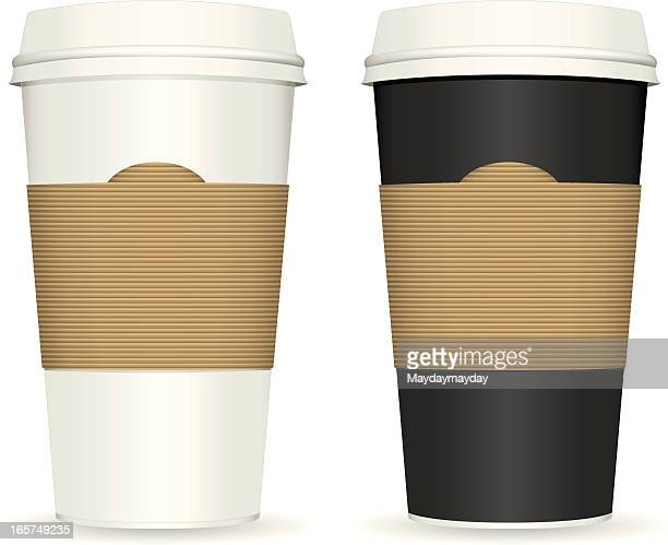Two plastic coffee cups with white background