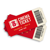 Two movie vector tickets isolated on white background. Realistic front view illustration.