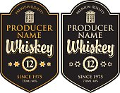 Vector set of two labels for whiskey in the curly frame with old building and inscription in retro style on black background