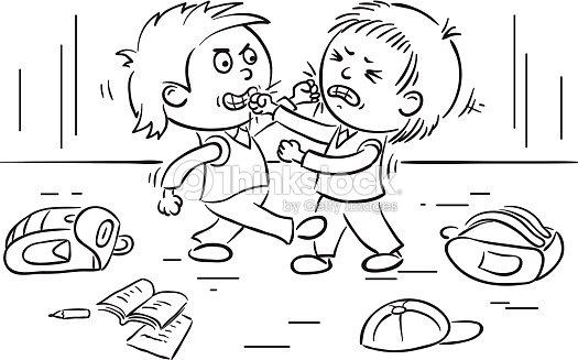 Deux Schoolboys Luttent Clipart Vectoriel Thinkstock