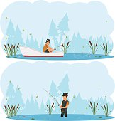 two separate images on the theme of fishing. man fishing while standing in the water and out of the boat. vector