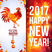 Two sides vertical flyer with geometric pattern and Rooster. Vector illustration. Chinese astrological sign. New Year 2017. Shining background made up from triangles.