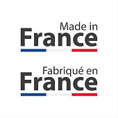 Two simple vector symbols Made in France, in the French language – Fabrique en France, signs with the French tricolor isolated on white background