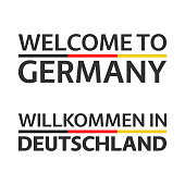 Two simple vector symbols Welcome to Germany with German flag, modern German icons isolated on white background, vector illustration