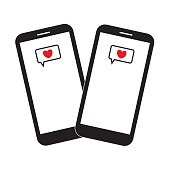 Two smartphones with heart messages on the screen. Heart icons. Love messages. Mobile devices. Black and white vector illustration.