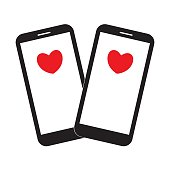 Two smartphones with hearts no the screen. Modern gadget love and relationship. Love messages. Mobile device. Happy Valentine's day card. Vector illustration.